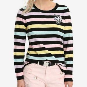 Hot Topic Sweater Unicorn Stripes Small